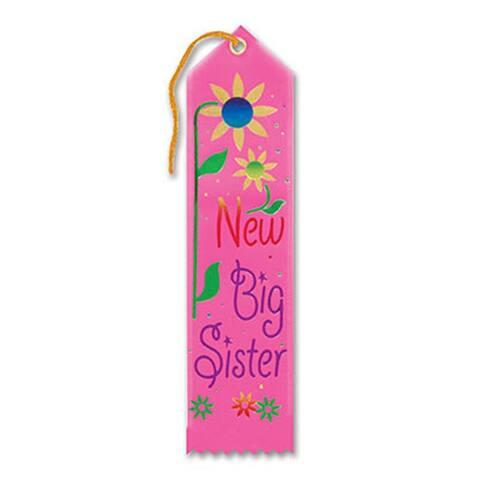 """Pack of 6 Pink """"New Big Sister Award"""" School Award Ribbon Bookmarks 8"""" - N/A"""