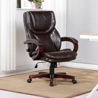 Belleze Executive Office Chair Adjustable Lumbar Support Back Swivel Tilt (Brown)