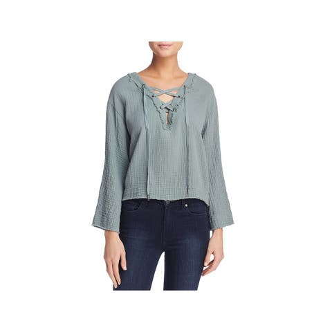 Bella Dahl Womens Casual Top Lace-Up Frayed Trim