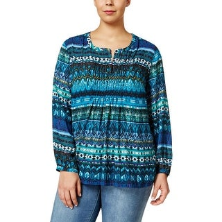 NY Collection Womens Plus Peasant Top Smocked Split Neck - 1x