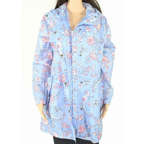 Joules Womens Raincoat Blue Size 6 Floral Print Hooded Dual Pockets