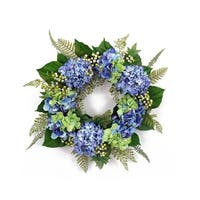 """25"""" Blossoming Spring and Summer Blue Hydrangeas Wreath with Greenery - Unlit - Green"""
