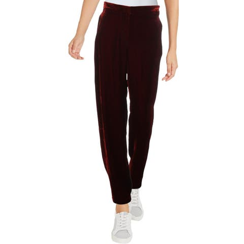 BCBG Max Azria Womens Colton Dress Pants Velvet Wide Leg - S