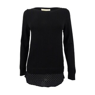 MICHAEL Michael Kors Women's Long Sleeve Layered Look Sweater (PS, Black) - Black - ps