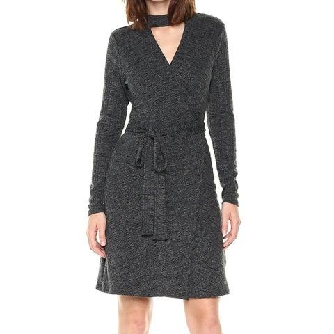 Laundry by Shelli Segal Gray Womens Size 8 Ribbed Knit Wrap Dress