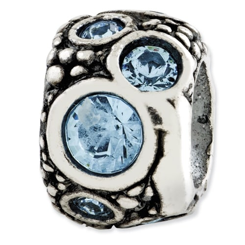 Italian Sterling Silver Reflections Light Blue Swarovski Elements Bead
