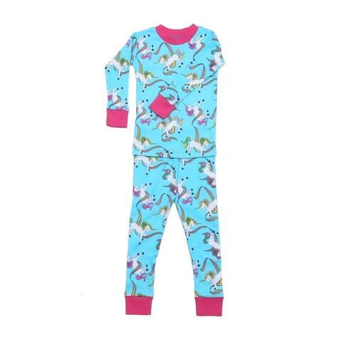 New Jammies Unisex Blue Rainbow Unicorns 2 Pc Sleepwear Set 7-12