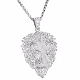 Custom Made Iced Out Lion Face Pendant 18K Rhodium Finish Simulated Diamond Box Chain Stainless Steel