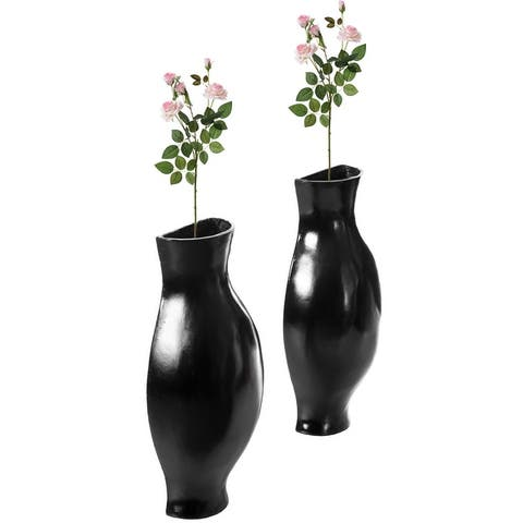 Decorative Split Vase Duo Floor Vase - Set of Black and White