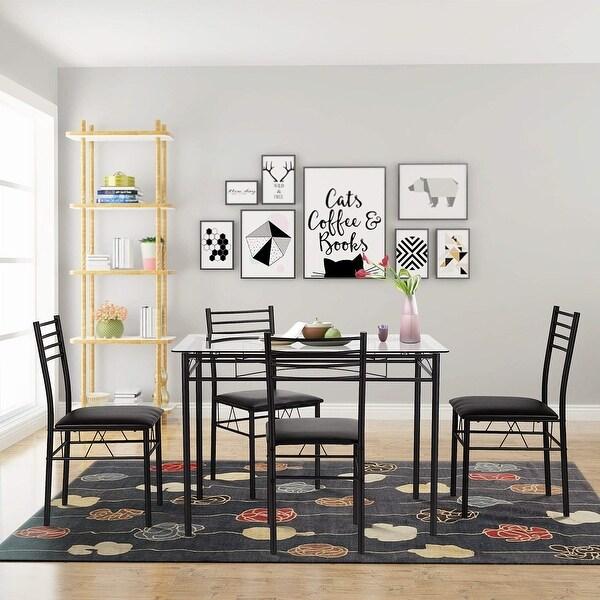 Superbe Modern Glass Steel Black Dining Table Kitchen 4 Chairs Set Breakfast  Furniture