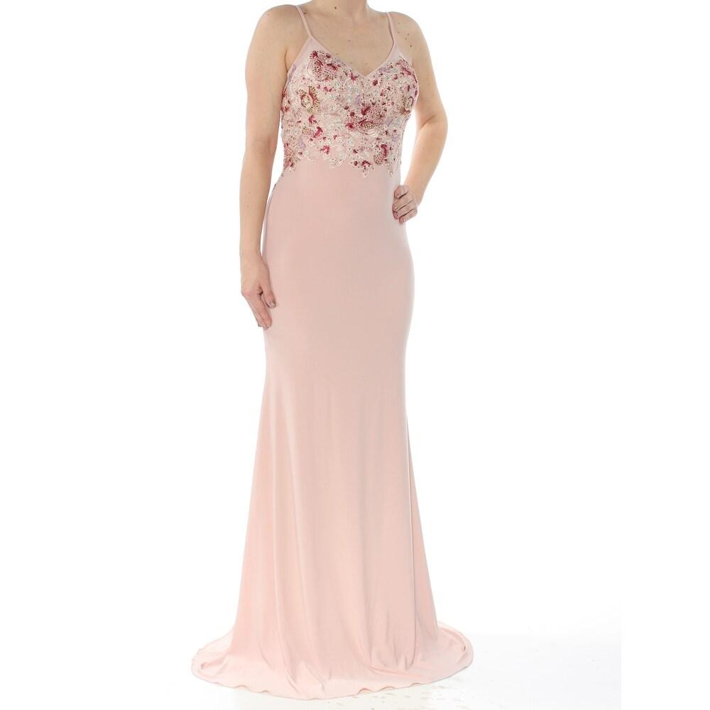 XSCAPE Womens Pink Spaghetti Strap Full Length Evening Dress Size 0