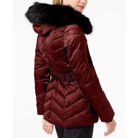 T Tahari Women's Leon Faux Fur Trim Hood Belted Coat Short Jacket Merlot (L)