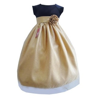 Little Girls Black Gold Velvet Glitter Tulle Christmas Occasion Dress