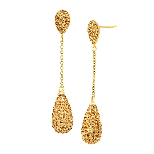 Crystaluxe Double Teardrop Drop Earrings with Swarovski elements Crystals in 18K Gold-Plated Sterling Silver