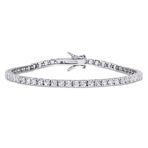 8 1/4ct TGW Created White Sapphire Tennis Bracelet in Sterling Silver by Miadora - 7 in x 3.2 mm x 3 mm - 7 in x 3.2 mm x 3 mm