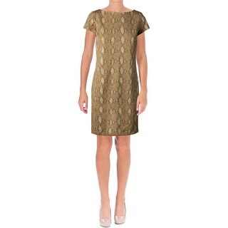 Lauren Ralph Lauren Womens Contessa Casual Dress Snake Print Short Sleeves