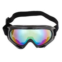Woman Man Black Plastic Frame Colored Lens Sports Ski Goggles Glasses