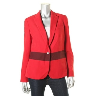 Anne Klein Womens Ponte Colorblock One-Button Blazer - 8