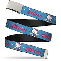 Blank Chrome Bo Buckle Hello Kitty Zodiac Libra Webbing Web Belt