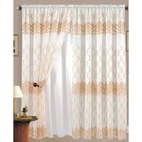 Karina Flower Embroidered Panel with Attached Valance and Backing, Beige-Gold, 55x84+18 - N/A