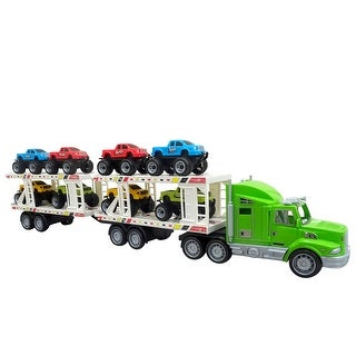 Envo Toys Mega Monster Toy Truck Play Set With Trailer Large XL Size Green