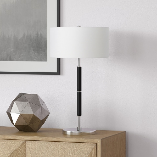 Simone Polished nickel and black Table Lamp. Opens flyout.