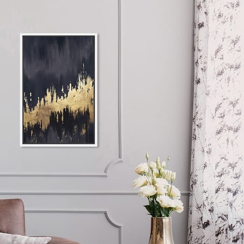 Oliver Gal 'Late Night Sky' Abstract Wall Art Framed Canvas Print Brush Strokes - Black, Gold