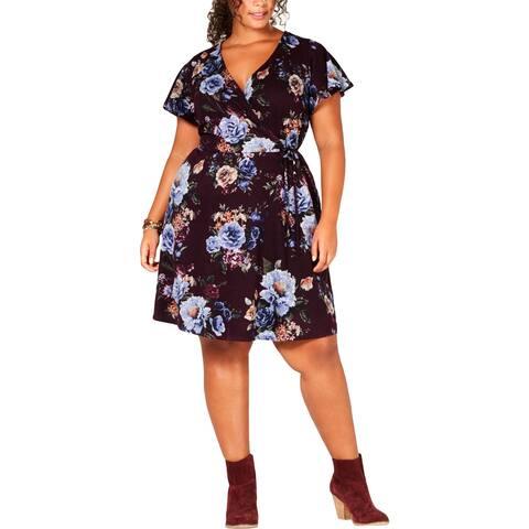 BCX Womens Plus Casual Dress Faux Wrap Floral
