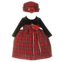 Baby Girls Black Red Velvet Checker Corsage Hat Christmas Dress 6-24M