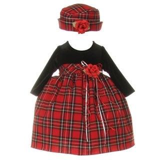 Baby Girls Black Red Velvet Checker Corsage Hat Christmas Dress 6-24M