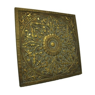Antique Gold Embossed Floral Medallion Metal Wall Plaque