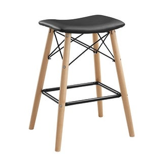 Offex Retro Modern Faux Leather Counter Kitchen Stool - Black