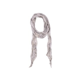 Roberto Cavalli Ivory Grey Silk Serpent Print Gold Infused Skinny Scarf - One Size
