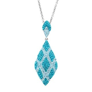 Crystaluxe Harlequin Drop Pendant with Blue Swarovski Crystals in Sterling Silver