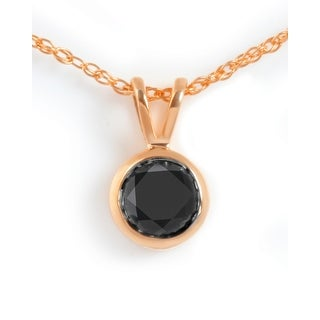 Brand New Round Brilliant Cut Bezel Set Black Diamond Solitaire Pendant