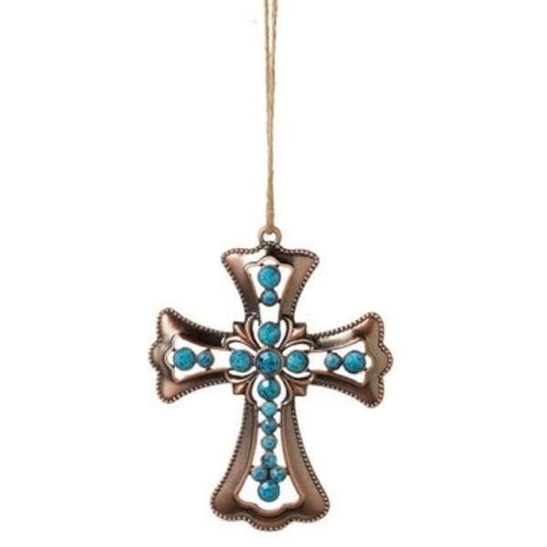 "3.75"" Decorative Bronze Tone Beaded Cross Christmas Ornament with Blue Faceted Stones"