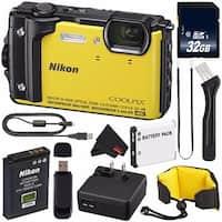 Nikon COOLPIX W300 Digital Camera (Yellow) International Model + EN-EL12 Replacement Battery + 32GB Card + Nikon Strap Bundle