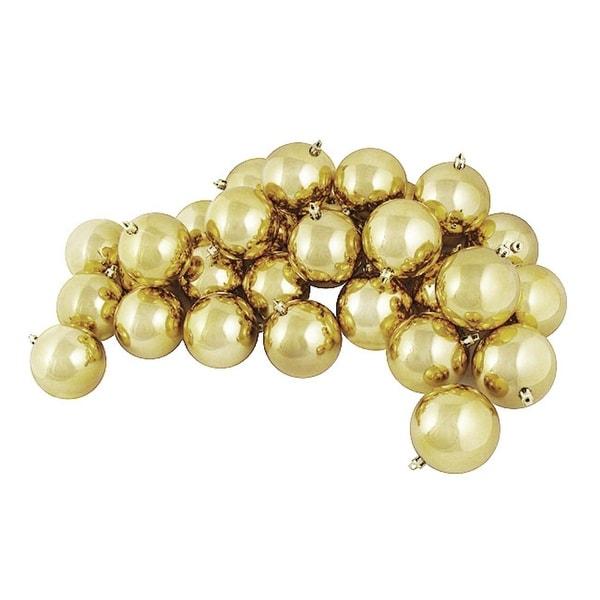 "60ct Shiny Vegas Gold Shatterproof Christmas Ball Ornaments 2.5"" (60mm)"