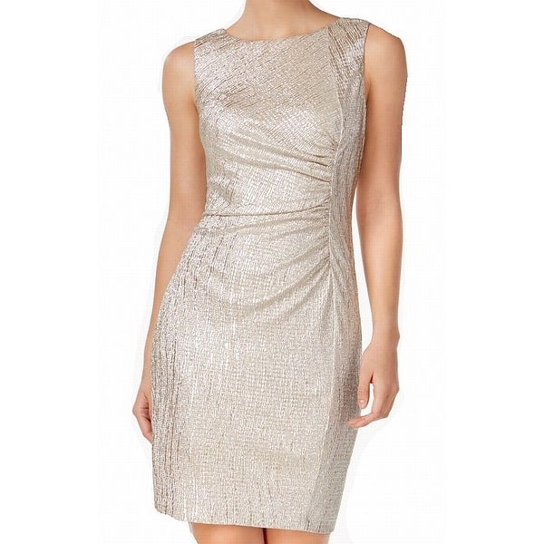 f0f8701e Shop Calvin Klein Gold Womens Size 2 Ruched Metallic Sheath Dress - Free  Shipping Today - Overstock - 22387899