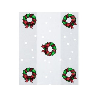 "Pack Of 100, 4 X 2 X 9"" 1.2 Mil Holiday Wreath Christmas Print Cello Bags W/With Green Wreaths & Silver Dots 3 Cups Made In Usa"
