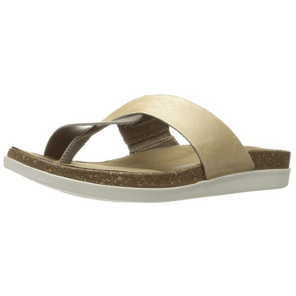 Rockport Womens Romilly Curve Thong Leather Split Toe Casual Slide Sandals