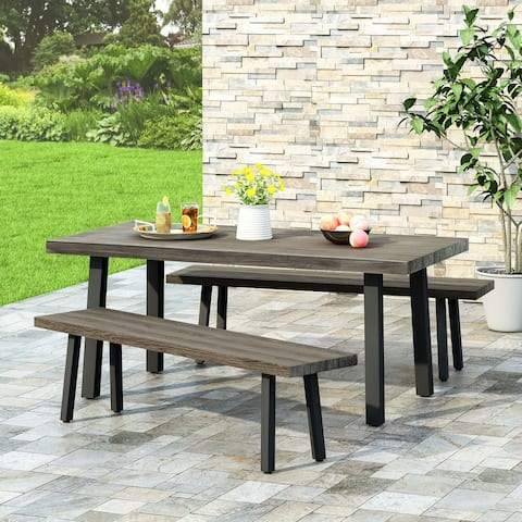 Pointe Outdoor Modern Industrial 3 Piece Aluminum Dining Set with Benches by Christopher Knight Home