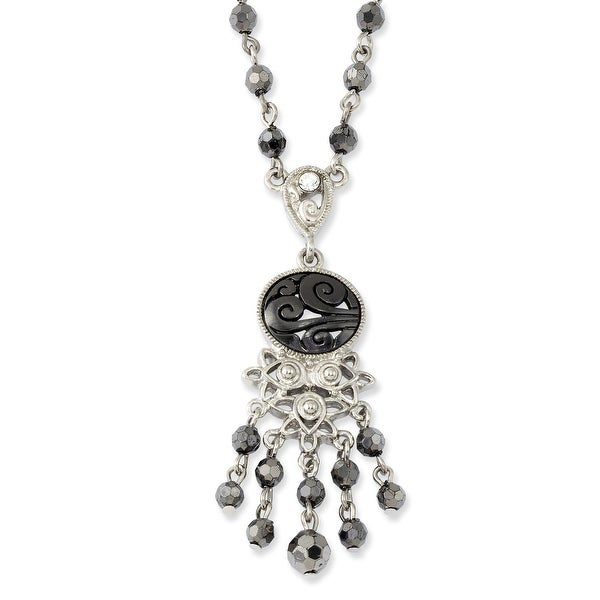 Silvertone Clear, Hematite & Black Acrylic Beads Necklace - 16in