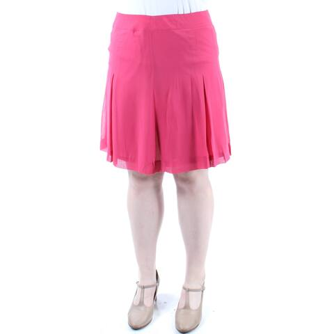 ANNE KLEIN Womens Pink Pleated Knee Length A-Line Skirt Size: 14