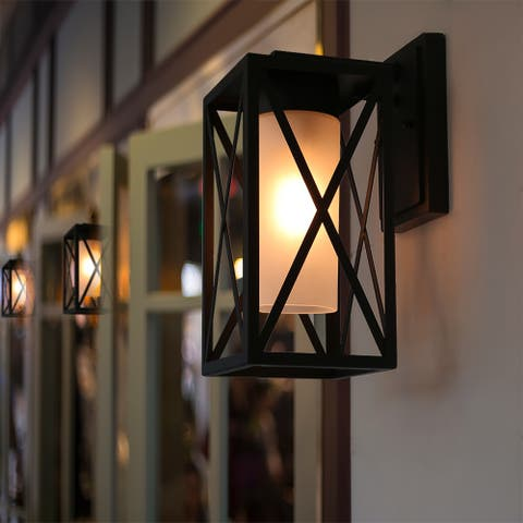 Traditional Black Metal 1-Light Glass Shade Outdoor Sconces Wall Lamps