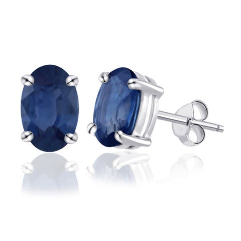 Created Sapphire Sterling Silver Oval Stud Earrings by Orchid Jewelry