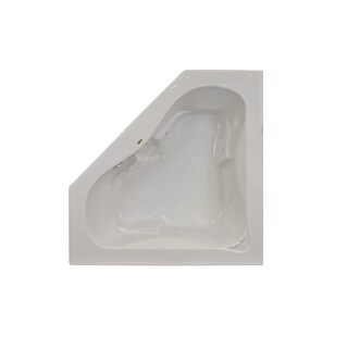 "Jacuzzi J5D6060 WCR 1XX 60"" x 60"" Signature Corner Whirlpool Bathtub with 6 Jets, Air Controls, Center Drain and Right Pump"