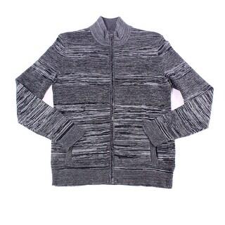 Alfani Gray Mens Size Small S Full Zip Mock-Neck Space-Dye Sweater