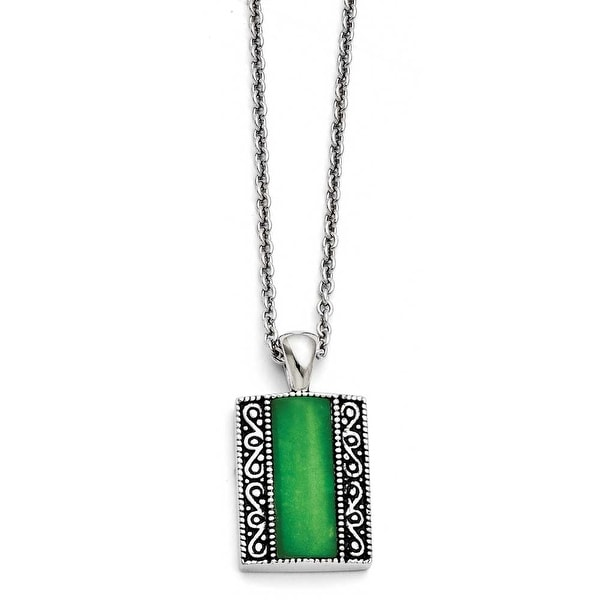 Chisel Stainless Steel Synthetic Jade Antiqued Rectangular Necklace (2 mm) - 20 in