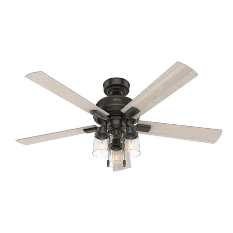 """Hunter 52"""" Hartland Ceiling Fan with 3-Light LED Light and Pull Chains"""